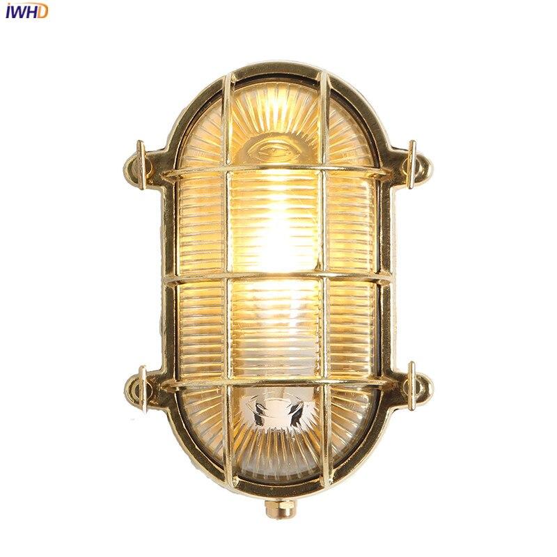 IWHD скандинавский медный Уличный настенный светильник светодиодный водонепроницаемый веранда балкон садовая вилла Наружное освещение Нас