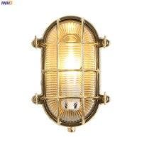 IWHD Nordic медь открытый настенный светодио дный светодиодный водостойкий крыльцо балкон сад вилла Наружное освещение Настенные светильники В