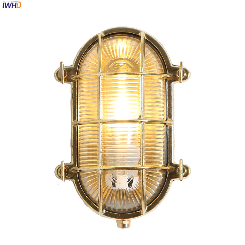 IWHD Nordic Copper Outdoor Wall Light LED Waterproof Porch Balcony Garden Villa Outdoor Lighting Wall Lamps Vintage Buitenlamp