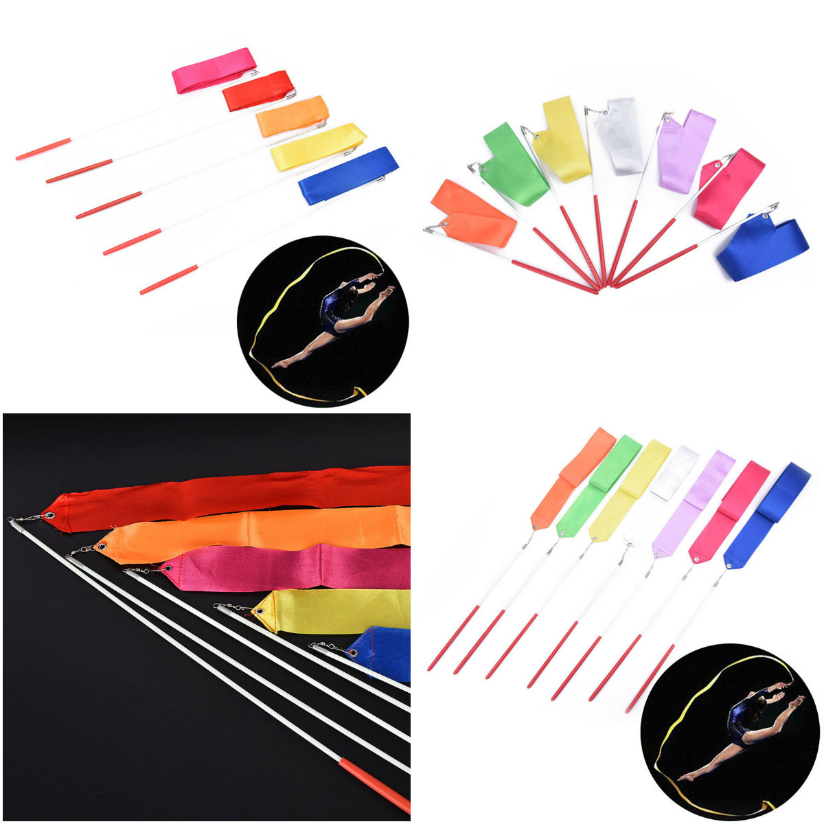 2M/4M Art Gymnastic Ballet Streamer Twirling Rod Stick For Gym Training Professional Colorful Gym Ribbons Dance Ribbon