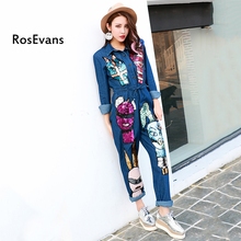 RosEvans 2017 Spring New Plus Size Thailand Brand Personality Cartoon Sequins Jumpsuit Long-sleeved Rompers Siamese Jeans B324