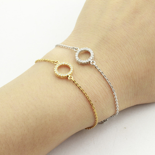 Small Karma Circle Charm Bracelet Bangle Pave Clear Cubic Zirconia Stone Simple Round Crystal Pulsera Stainless