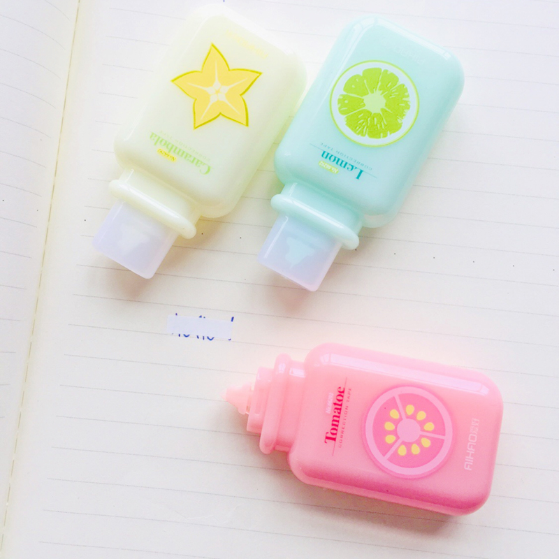 6M*5mm Creative Jelly Fruits Milk Bottle Correction Tape Corrective Eraser For Gel Pen School & Office Supply Student Stationery