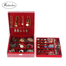Купить с кэшбэком new fashion Perfect  practical very large capacity leather jewelry box with two layers leopard pattern jewelry box jewel case