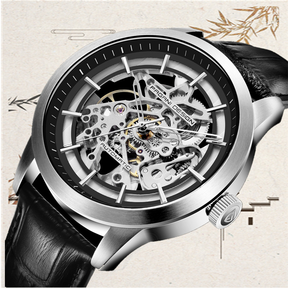 HTB1iTc5X4 rK1RkHFqDq6yJAFXar 2019 PAGANI DESIGN Brand Fashion Leather Gold Watch Men Automatic Mechanical Skeleton Waterproof Watches Relogio Masculino Box