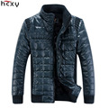 HCXY Brand 2016 Faux Leather Down Jacket Men Waterproof Mens Winter Jackets And Coats Solid Cotton Parka Stand Collar Fur Lining
