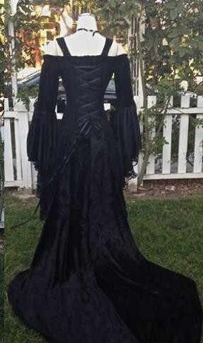 Gothic Style Sleeping Beauty Black Wedding Dresses Off