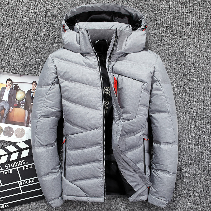 White Men's Duck Down Jackets Warm Winter Thick Down Coat Men Casual Jacket Hooded Men Parka Jaqueta Masculina Outerwear JK-3063