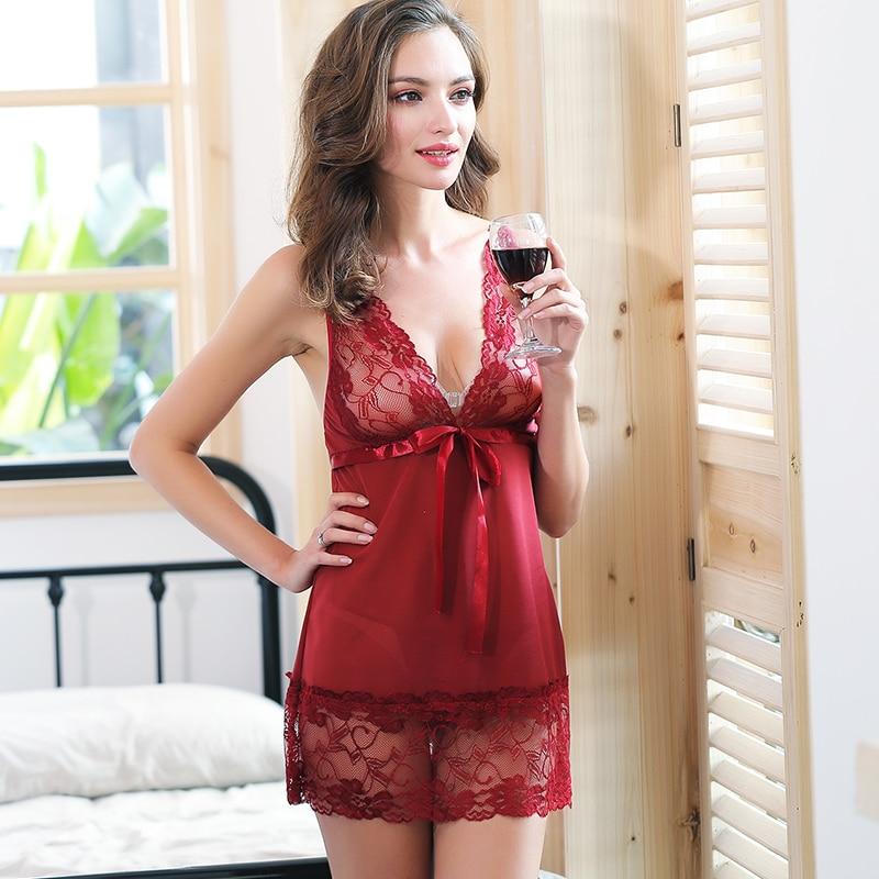 Feilibin Femei Îmbrăcăminte de noapte Dantelă Rochie de noapte Rochie de dormit Rochie cu șnurcă G Dame Lenjerie sexy Rochie Rochii de noapte sexy M-XXL