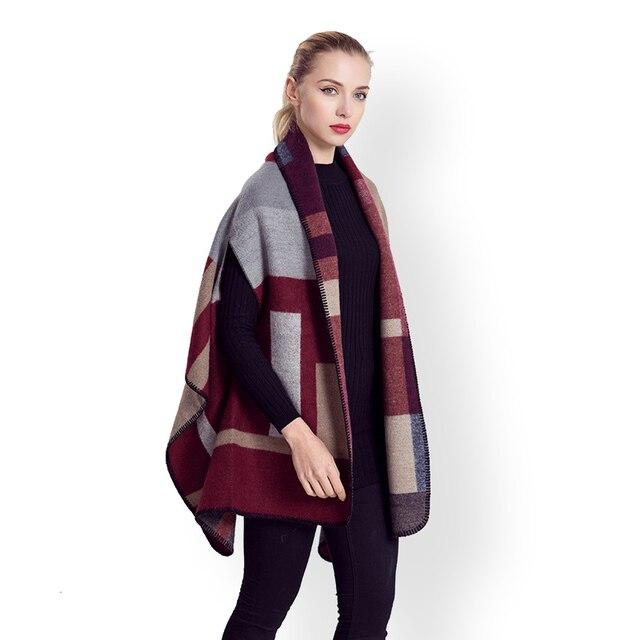 Femmes patchwork plaid poncho foulards avec manches ouverture femelle  cachemire couverture bloaks écharpe dame hiver épais c71bb056e49