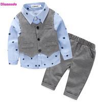 3Pcs Spring Autumn Baby Boys Clothes Set Kids Gentleman Suit Child Vest Long Sleeve Star Print