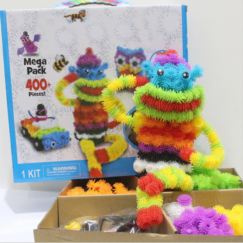 200pcs/lot Assembling 3D Puzzle Kid Educational Toys DIY Ball Squeezed Variety Shape Creative Handmade Puzzles Toys For Kids