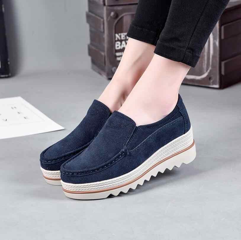 d43bda63dc94 EOEODOIT 2018 Autumn Cow Leather Shoes Women Flat Heel Platform Elevator  Slip On Loafers Slip Resistance