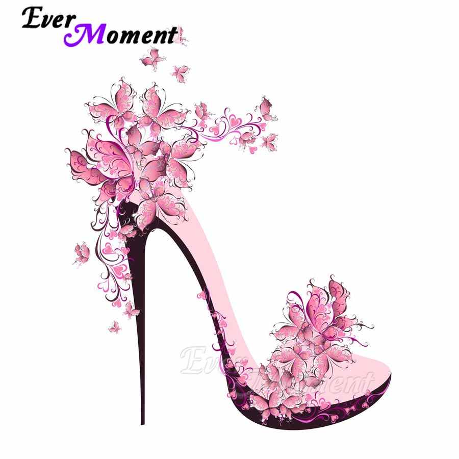 Ever Moment Diamond Mosaic Butterfly Pink High Heel Shoe 5D DIY Diamond Painting Home Decoration Full Square Craft ASF1066