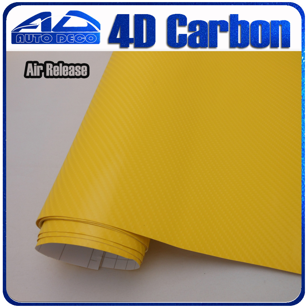 Wholesale 4d Carbon Fiber Vinyl Yellow Carbon Sticker Film For Car Wrapping With Bubble Free FedEx Free Shipping 30m/roll limited sales 3mx50cm 118 x20 4d carbon fiber vinyl film sticker wrapping decal bubble free black for car truck suv body