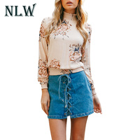 NLW Floral Print Chiffon Blouse 2018 Spring Summer Long Sleeve Stand Collar Women Blouses Ladies Loose
