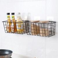 Keuken kruiden opknoping mand desktop opslag mand badkamer rechthoekige opbergdoos badkamer muur opknoping rack