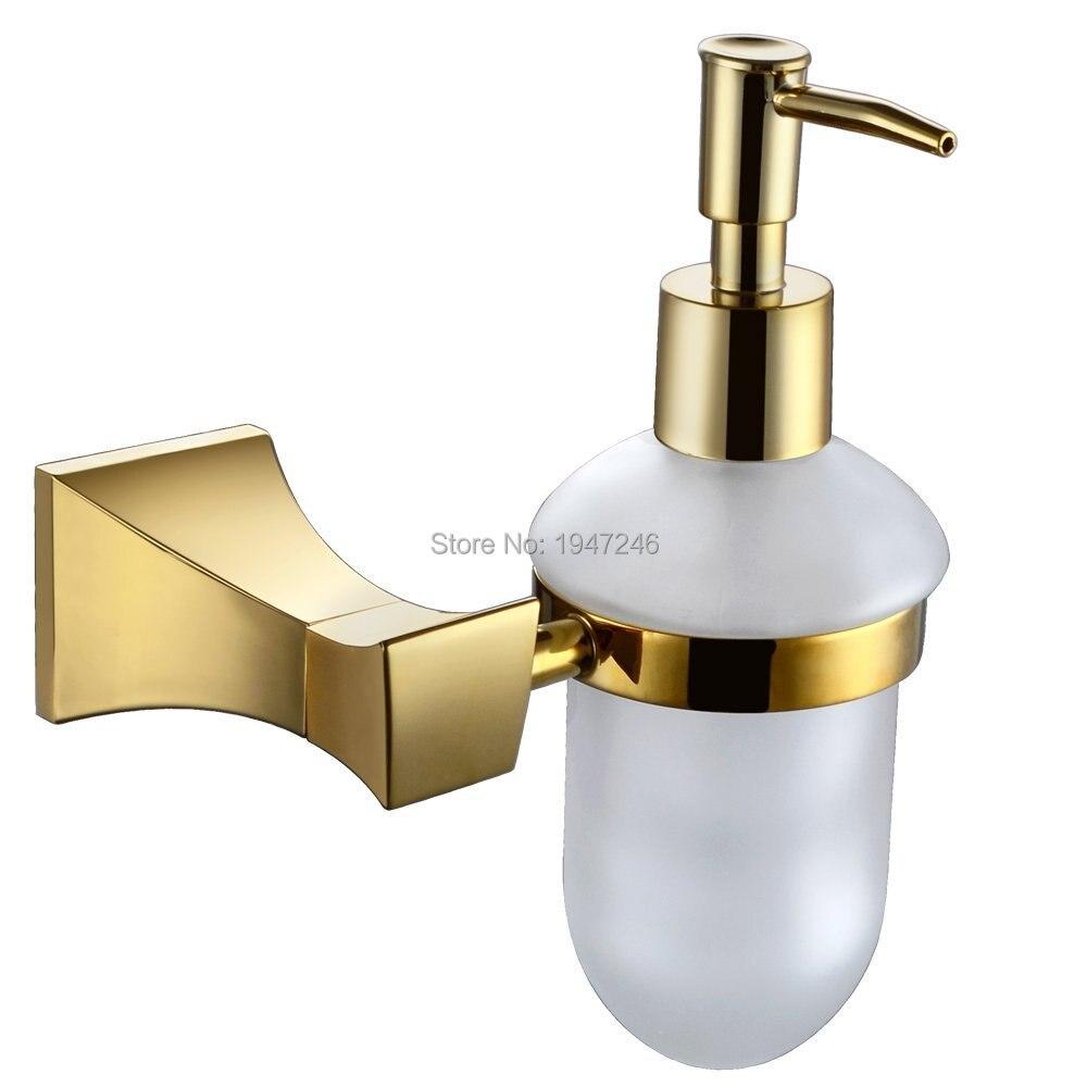 Brushed gold soap dispenser outdoor brick oven
