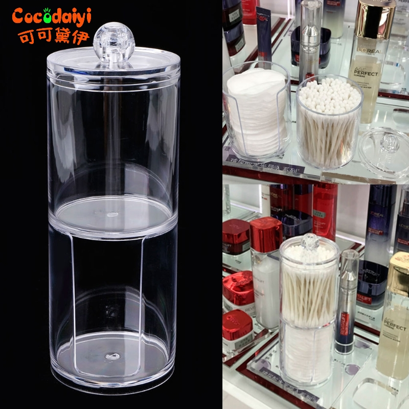 Transparent Round Container Storage Case Makeup Cotton Pad Box Nail Paper Wipe