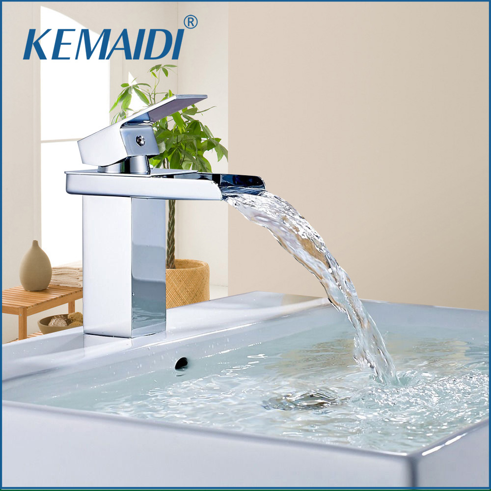 KEMAIDI Modern Style Wide Waterfall Spout Single Handle Hot And Cold Device Chrome Finish Bathroom Basin Sink Mixer Tap Faucet