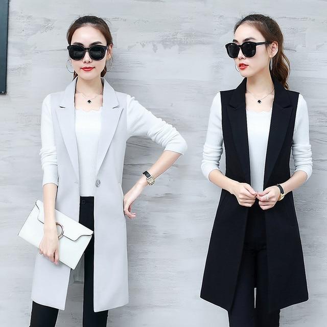 Elegant Suit Vest Women Spring Summer Sleeveless Long Vest Jacket Colete Plus Size 3XL Blazer Vest Coat Women Waistcoat C4202
