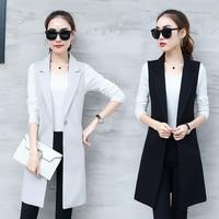 c53ea47421 Elegant Suit Vest Women Spring Summer Sleeveless Long Vest Jacket Colete  Plus Size 3XL Blazer Vest. Elegante Terno Colete Mulheres Primavera Verão  Sem ...