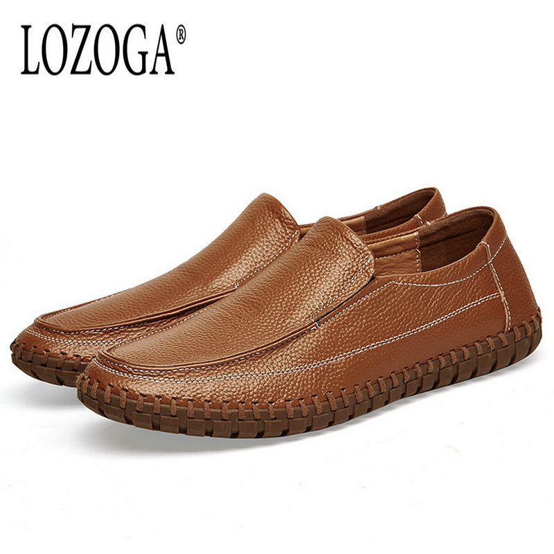 Lozoga Men Leather Shoes New Trending Casual Shoes Handmade Genuine Leather Loafers Slip on Design Soft Comfy Brown Flats lozoga 2018 men leather shoes handmade moccasins genuine cow leather men loafers design slip on comfortable peas shoes men flats