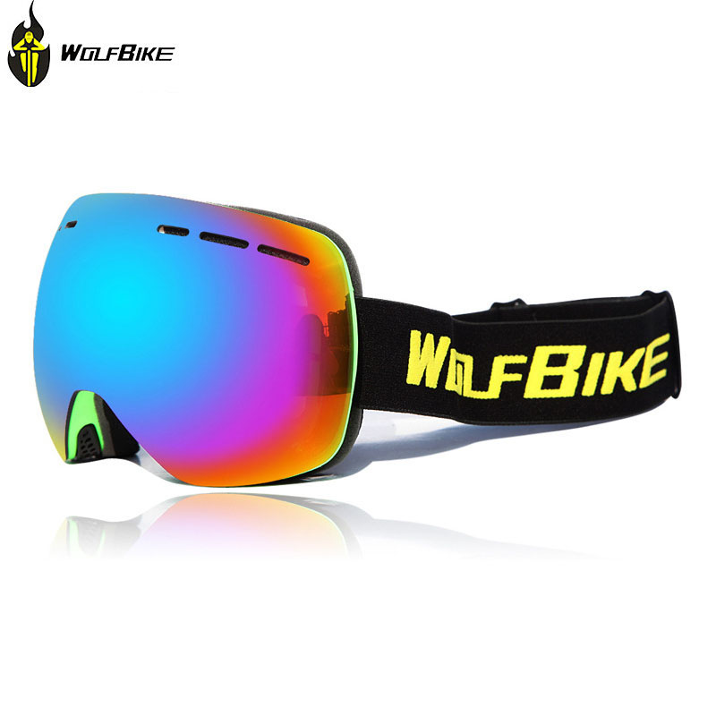 WOLFBIKE Motorcycle Goggles with Double Anti fog Spherical Lens Windproof Motocross Ski Goggles font b Snowboard