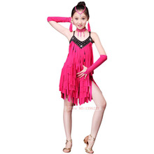 Children Latin Dance Competition Costume High Quality Latin Stage Dancing Skirt 2016 New Design Kids Latin Tassel Costumes