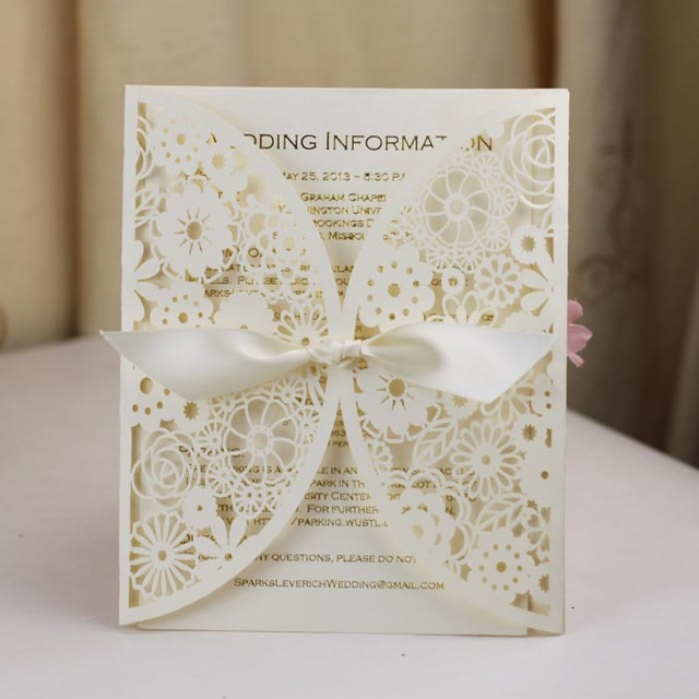 Ivory Laser Cut Wedding Program Card Hot Foil Words