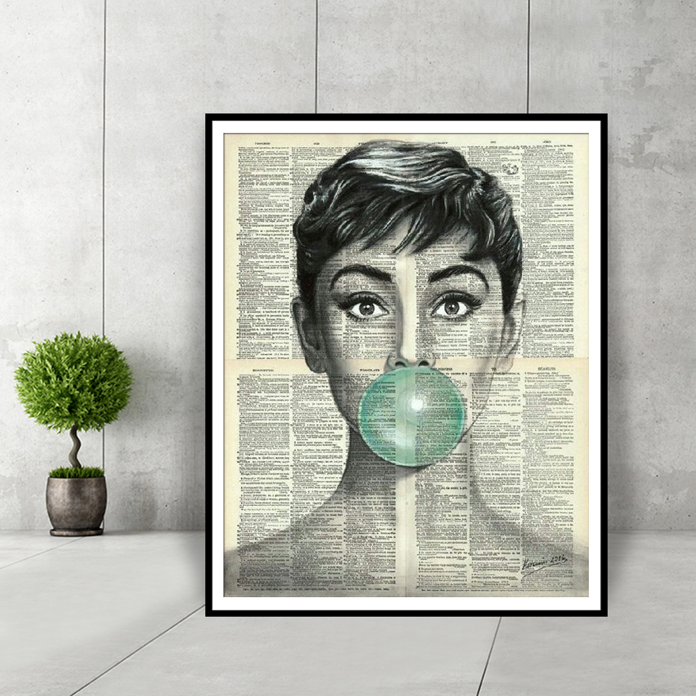 Audrey Hepburn Blue Bubble Gum Home Decor Posters And Prints Black And White Wall Art Dictionary Art Canvas Painting