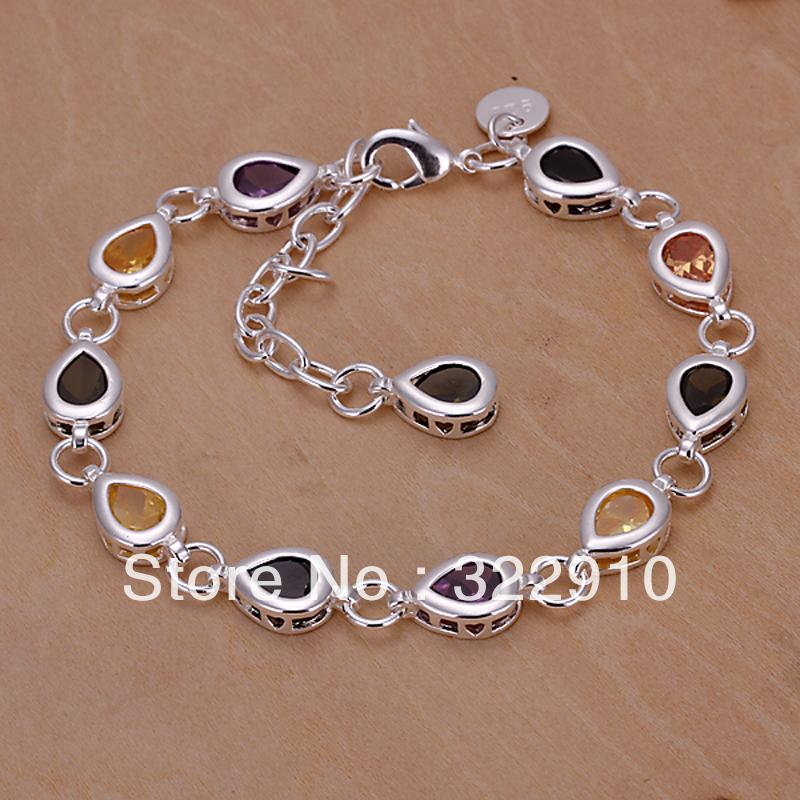 NEW 260/Free shipping,925 Silver bracelte,fashion jewelry,crystal drop bracelets,Nickle free antiallergic,High quality