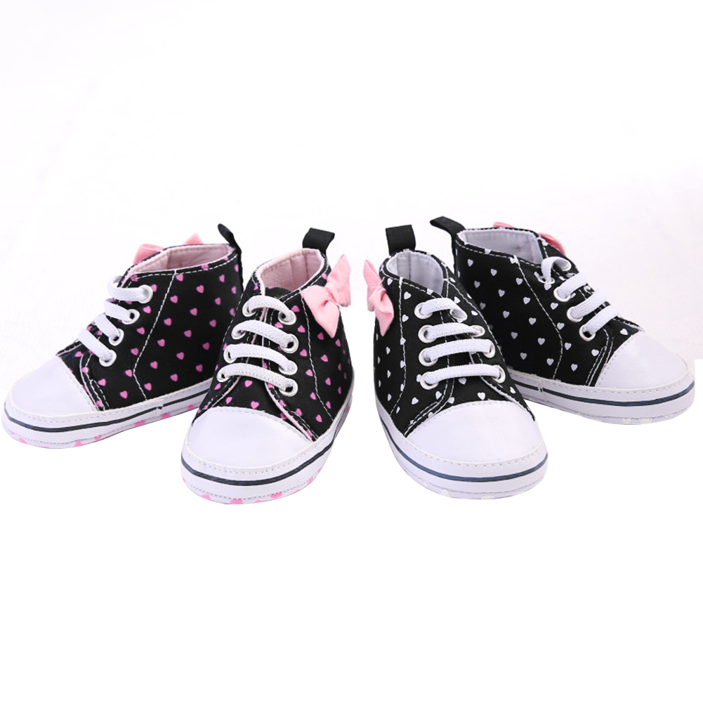 Newborn Baby Girl Canvas Shoes Soft Sole Heart Print Shoes Infant Toddler Canvas Sneaker First Walkers Baby Shoes for 0-18M