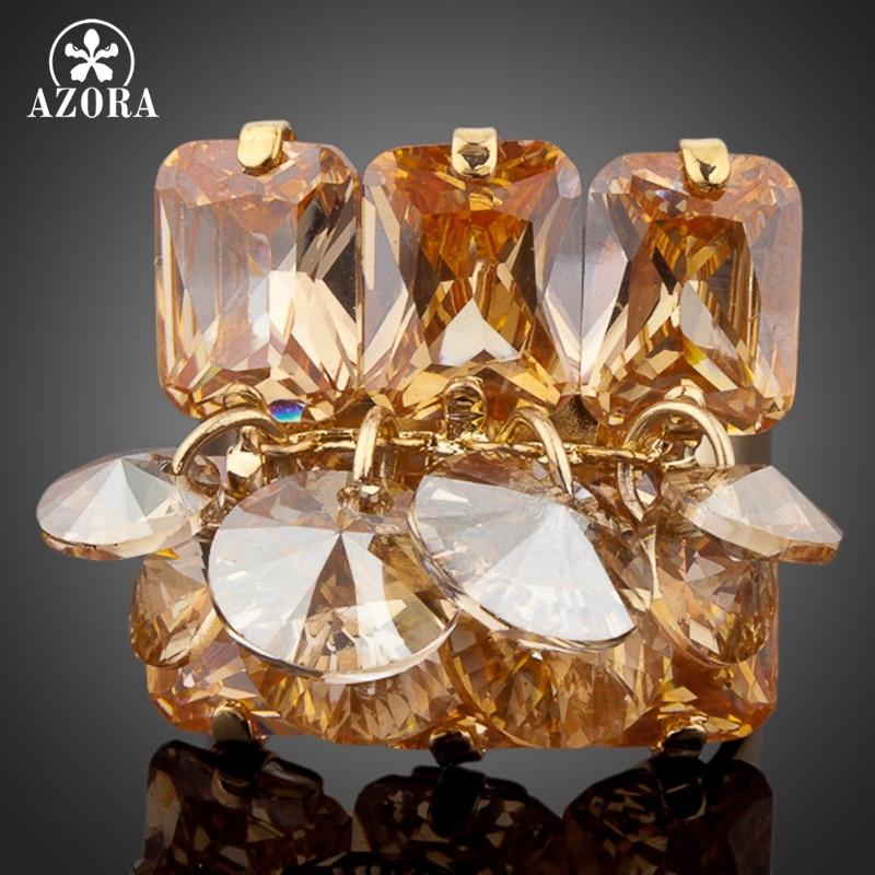 AZORA זהב צבע זהב Stellux אוסטרי קריסטל מתכווננת גודל טבעת TR0049