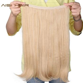 AISI włosy 22 cal (55 cm) długości falowane syntetyczne Halo elastyczna lina przedłużanie włosów linka wędkarska Hairpiece