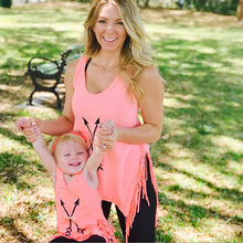Tassel Mother Daughter Vest Tshirt Mommy and Me Clothes Family Look Mom Mum Mama Love Arrow Sleeveless Dresses Clothing