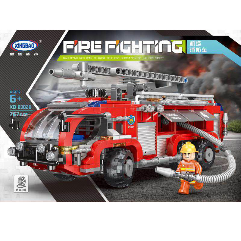 XINGBAO 03028 City Toys Series The Airport Fire Truck Set Building Blocks Bricks Kids Toys Car Model Birthday Christmas Gifts