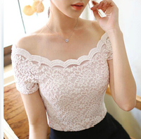 Free Shipping Summer Women Short Sleeve Sexy Lace Shirts Brand Plus Size Club Wear Lace Blouses