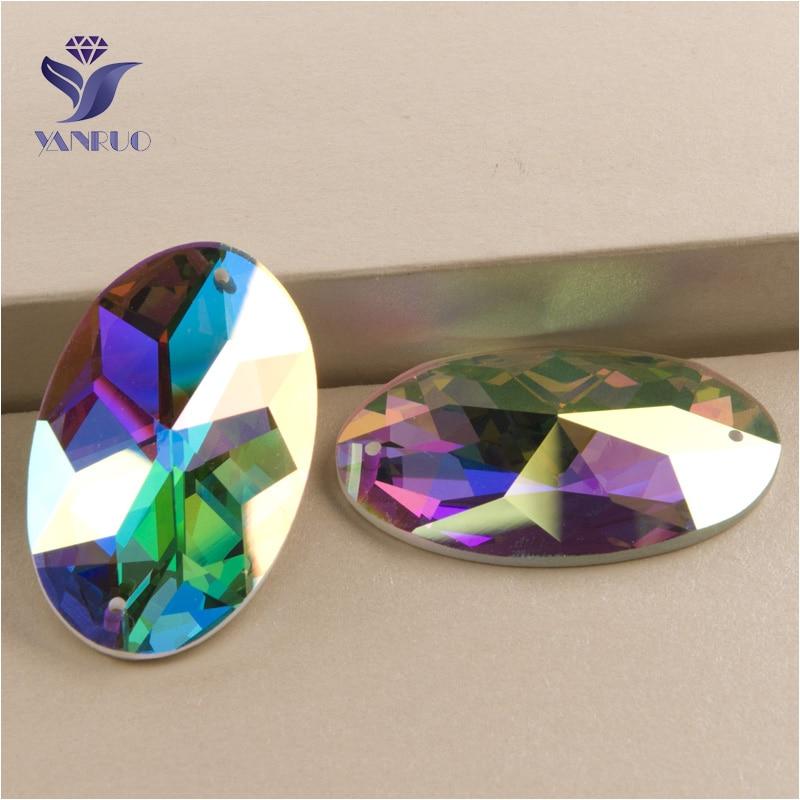 YANRUO 2052TH все размеры AB овальные плоские задние стеклянные искусственные изделия DIY хрустальный камень пришивные стразы для одежды