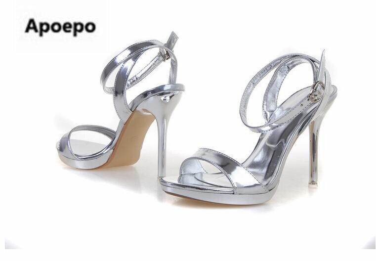 Date or argent miroir femmes sandales 7 cm/9 cm plate-forme talons chaussures femmes été cheville sangle sexy robe chaussures taille 41 - 5