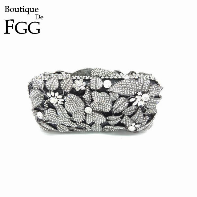 Gift Box Lady Gold Appliques Crystal Evening Purse Bridal Party Clutch Bag Women Diamond Hollow Out Wedding Bags and Evening Bag