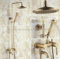 Antique Brass Shower Faucets Set 8'' Rainfall Shower Head Handle Shower Mixer Tap Swivel Tub Spout Bath Shower Krs041