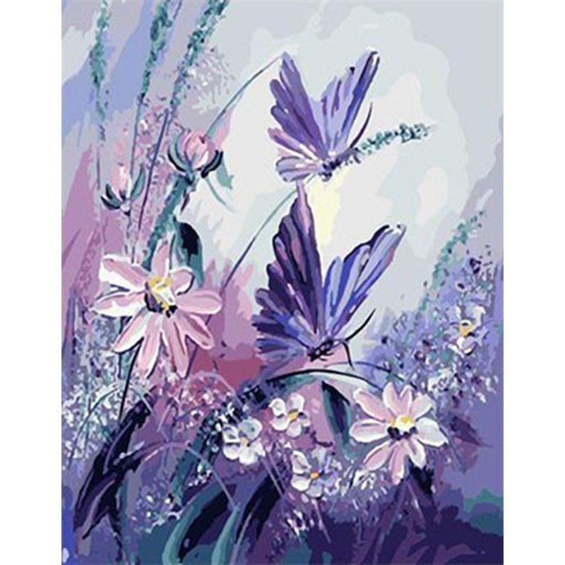 1 Set New Arrival Beautiful Purple Butterfly Flower DIY Digital Painting By Numbers Canvas Painting Unique Gift For Home Decor