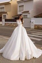 Винтажное сатиновое платье Vivians Bridal, со шлейфом кортом, сексуальное платье для свадьбы с перекрестными ремешками, с плеча, на молнии сзади, с карманами