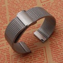 Wysokiej jakości akcesoria do zegarków modne zegarki męskie paski bransoletka 18m 20mm 22mm 24mm siatka rekina stal nierdzewna metal czarny