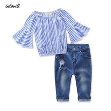купить summer girls clothing sets jeans and striped long sleeve t-shirts 2pcs/sets kids clothes fashion children clothing sets дешево