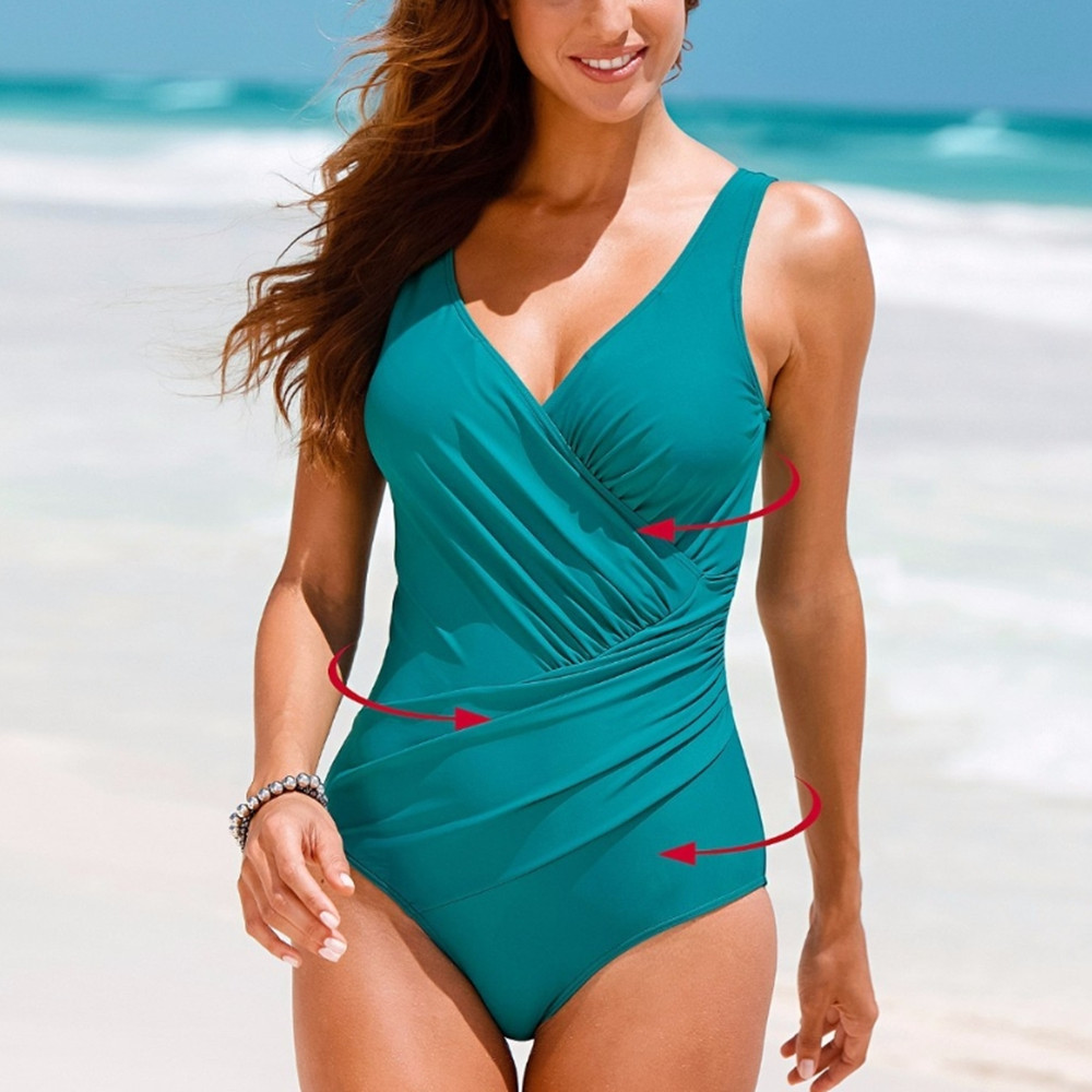 One Piece Swimsuit Women Vintage Bathing Suits Plus Size ...