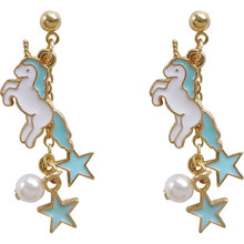 high quality 6 pair /lot fashion jewelry metal enamel star horse unicorn earring for women(China)