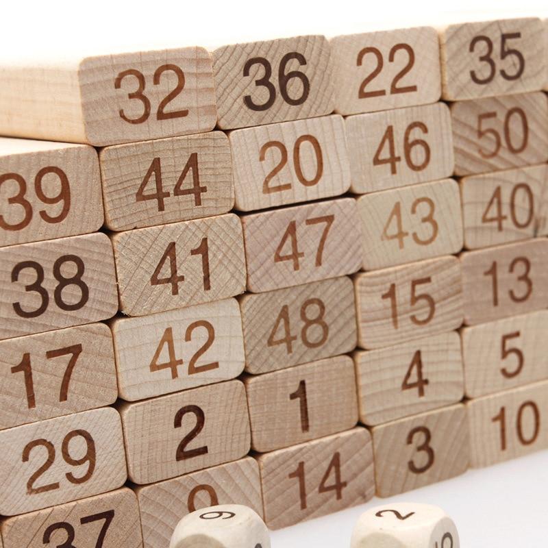 Jouet de bloc de dominos mathématiques en bois pour enfants, Double face, compte mathématique, carte d'apprentissage, jeu de mathématiques, outil d'enseignement - 2