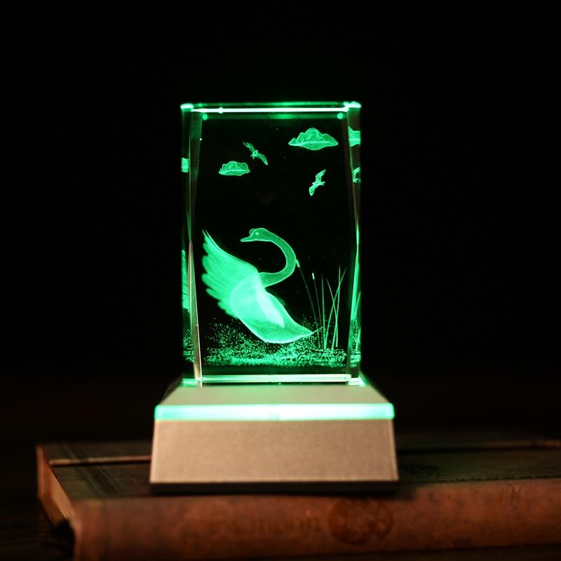 Vit svanfärg byta bordslampor Laser inuti 3D nattlampa för sovrum